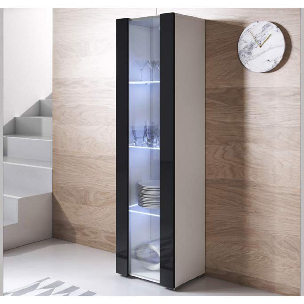 Design Ameublement Vitrine modèle Luke V5 (40x167cm) couleur blanc et noir avec pieds standard