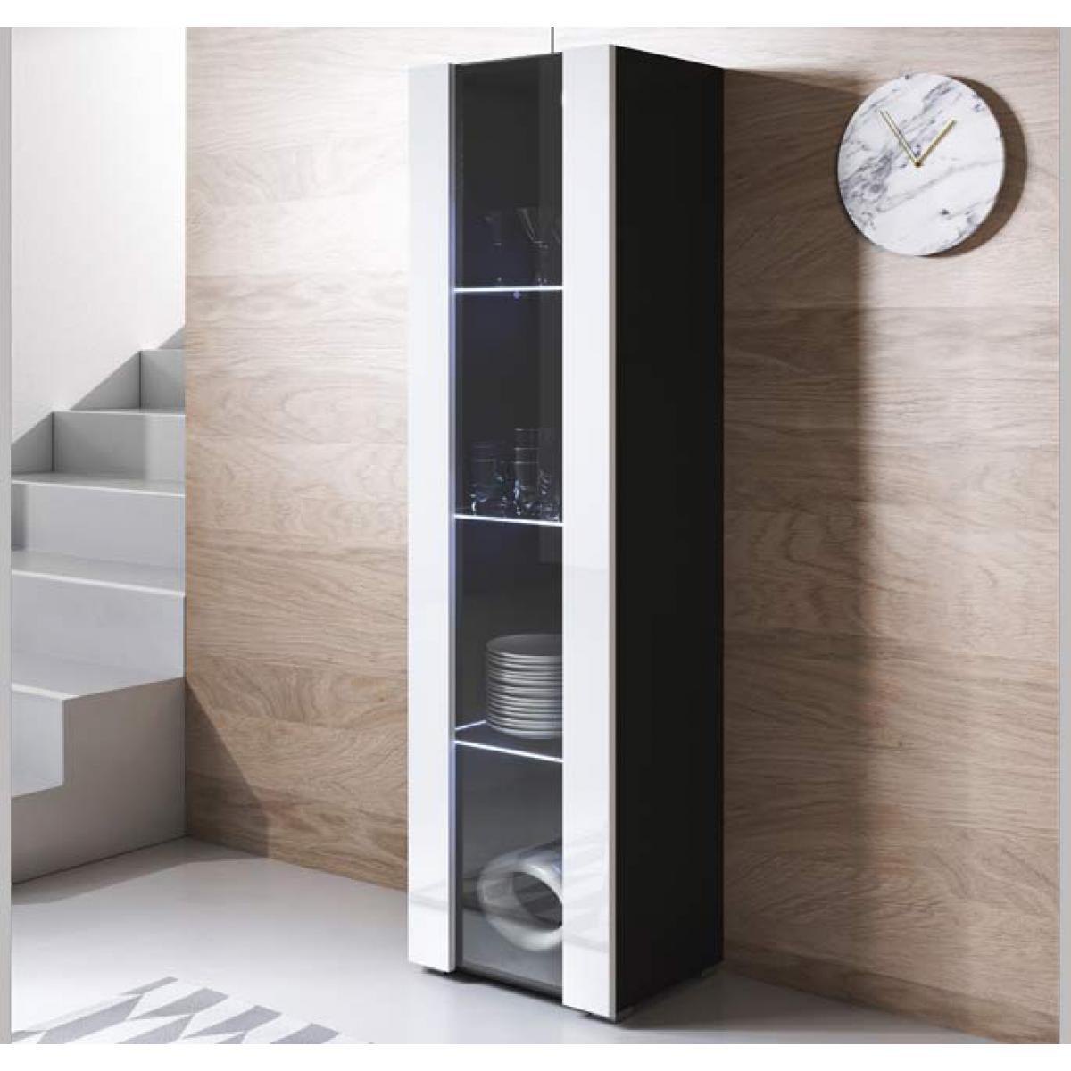 Design Ameublement Vitrine modèle Luke V5 (40x167cm) couleur noir et blanc avec pieds standard