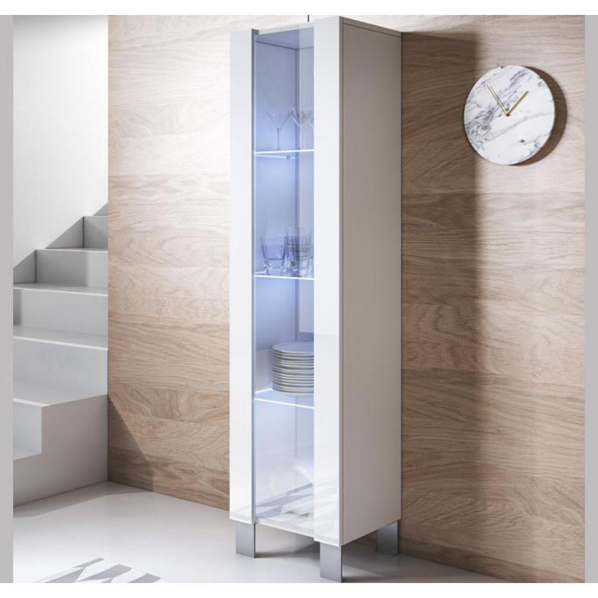 Design Ameublement Vitrine modèle Luke V5 (40x177cm) couleur blanc avec pieds en aluminium