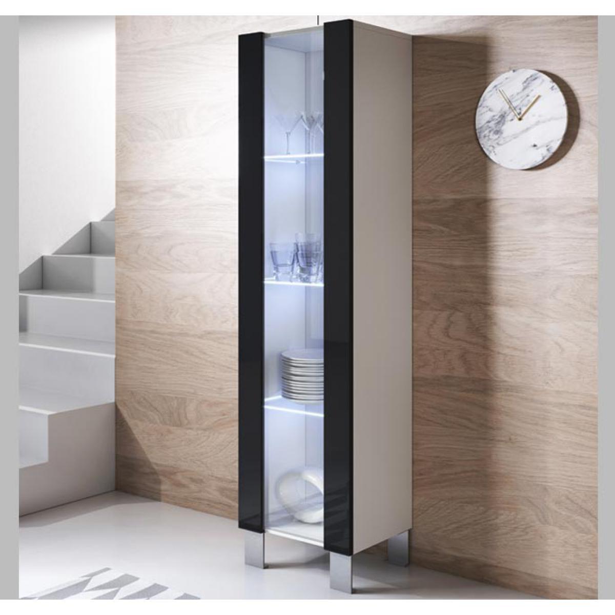 Design Ameublement Vitrine modèle Luke V5 (40x177cm) couleur blanc et noir avec pieds en aluminium