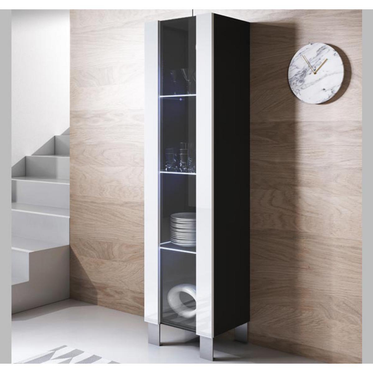Design Ameublement Vitrine modèle Luke V5 (40x177cm) couleur noir et blanc avec pieds en aluminium