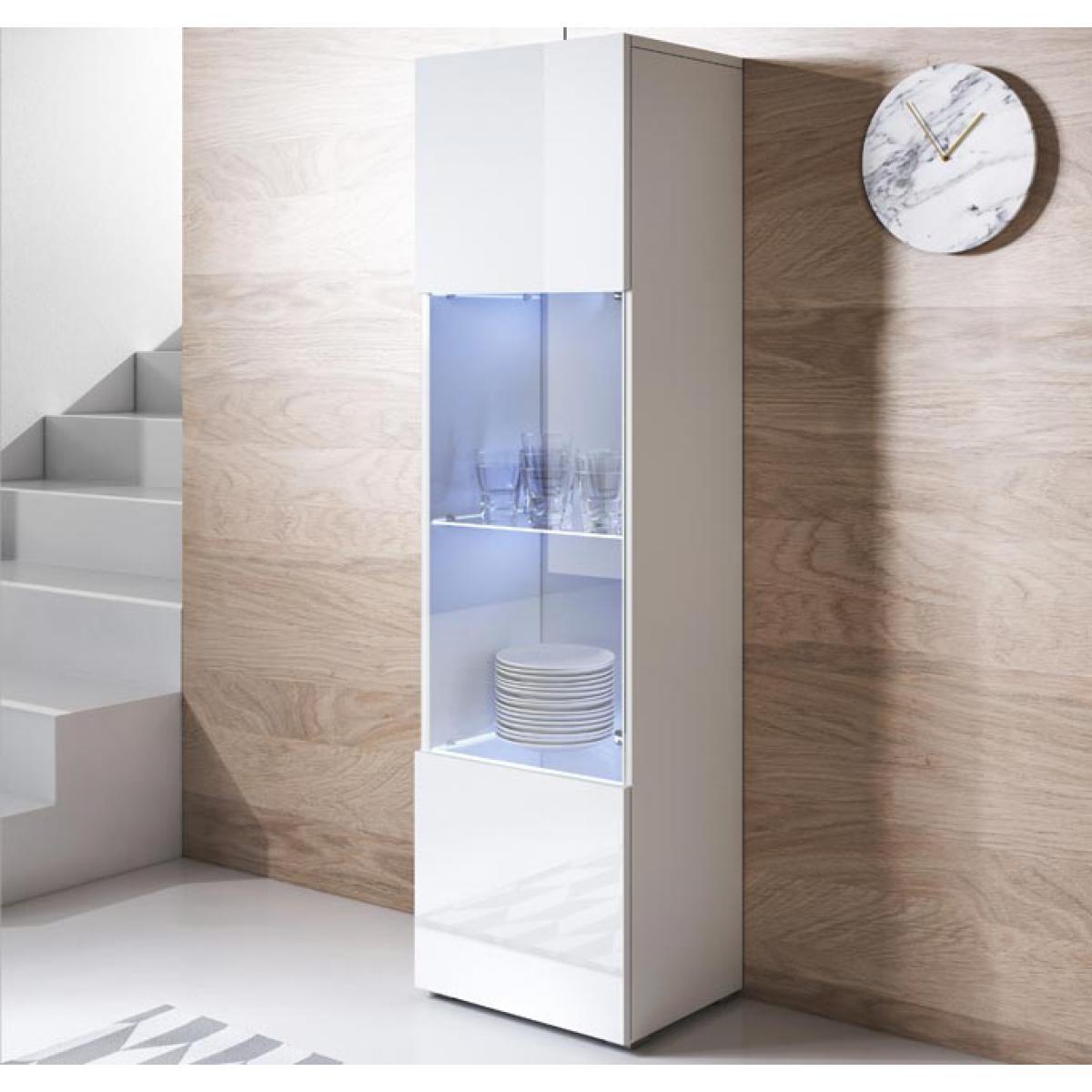 Design Ameublement Vitrine modèle Luke V6 (40x167cm) couleur blanc avec pieds standard