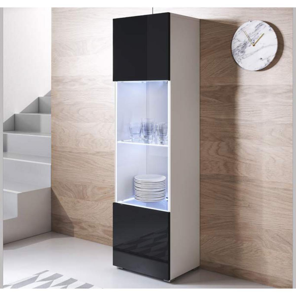 Design Ameublement Vitrine modèle Luke V6 (40x167cm) couleur blanc et noir avec pieds standard