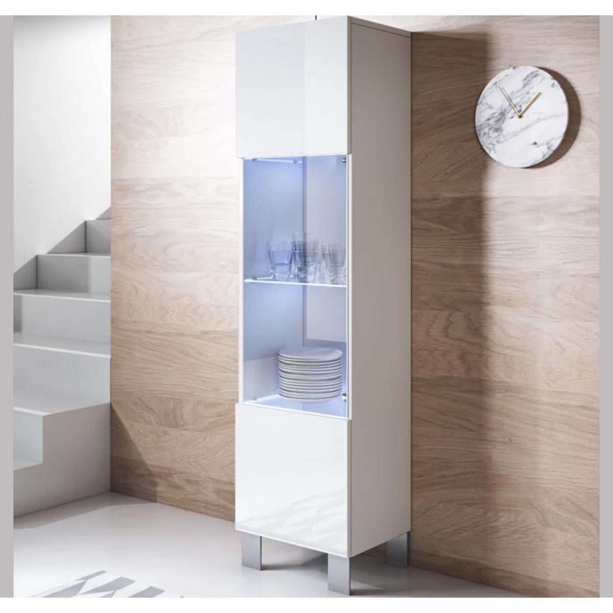 Design Ameublement Vitrine modèle Luke V6 (40x177cm) couleur blanc avec pieds en aluminium