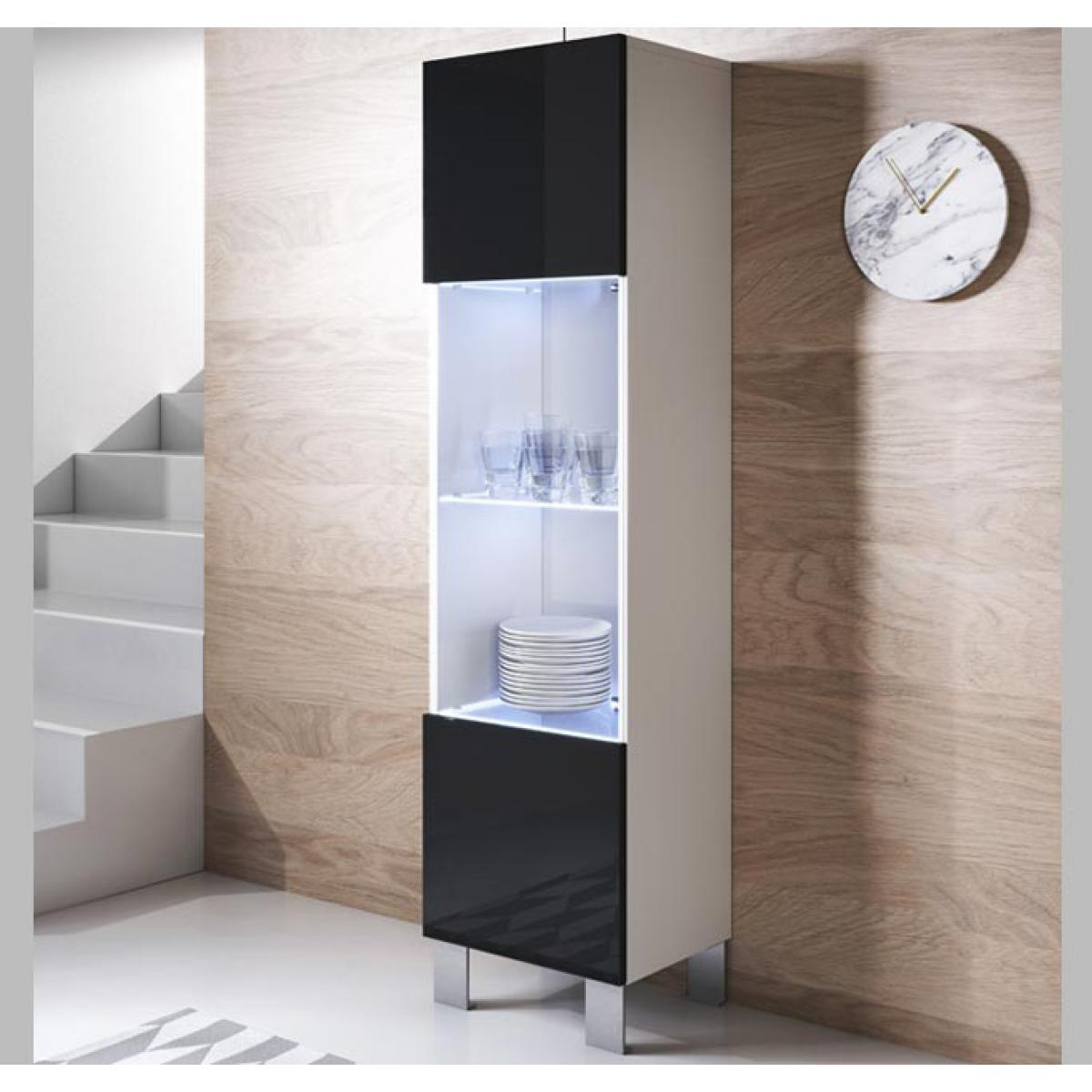 Design Ameublement Vitrine modèle Luke V6 (40x177cm) couleur blanc et noir avec pieds en aluminium
