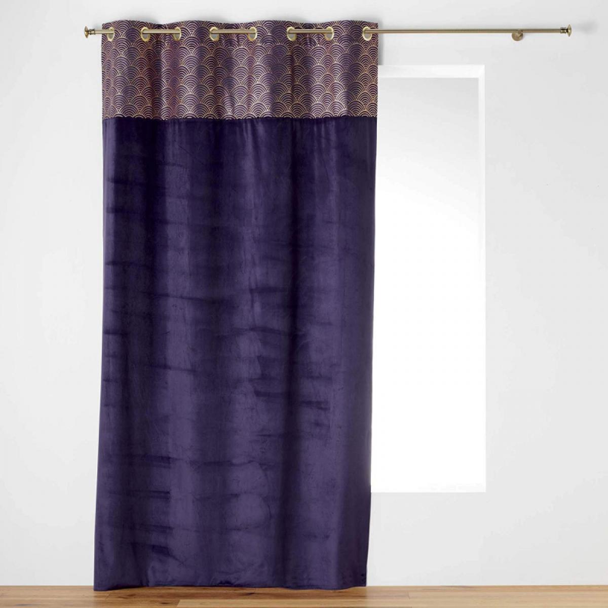 Douceur D'Interieur Rideau à oeillets 140 x 240 cm - Velours - Top Imprimé - Or Duchesse Violet