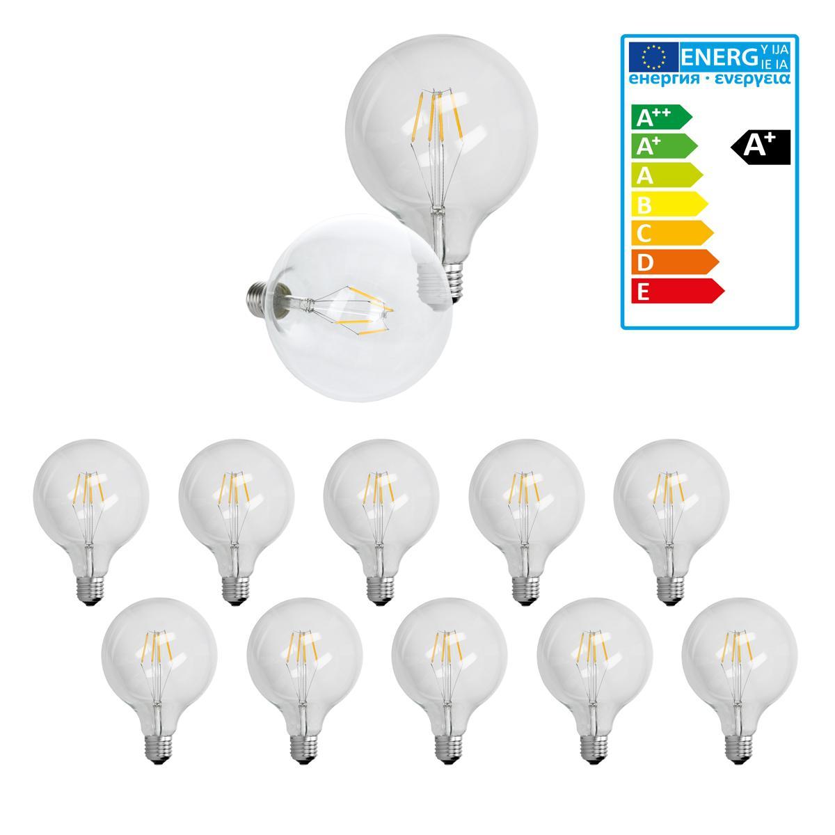 Ecd Germany 10 x ampoule LED gros filament E27 4W 125 mm blanc chaud