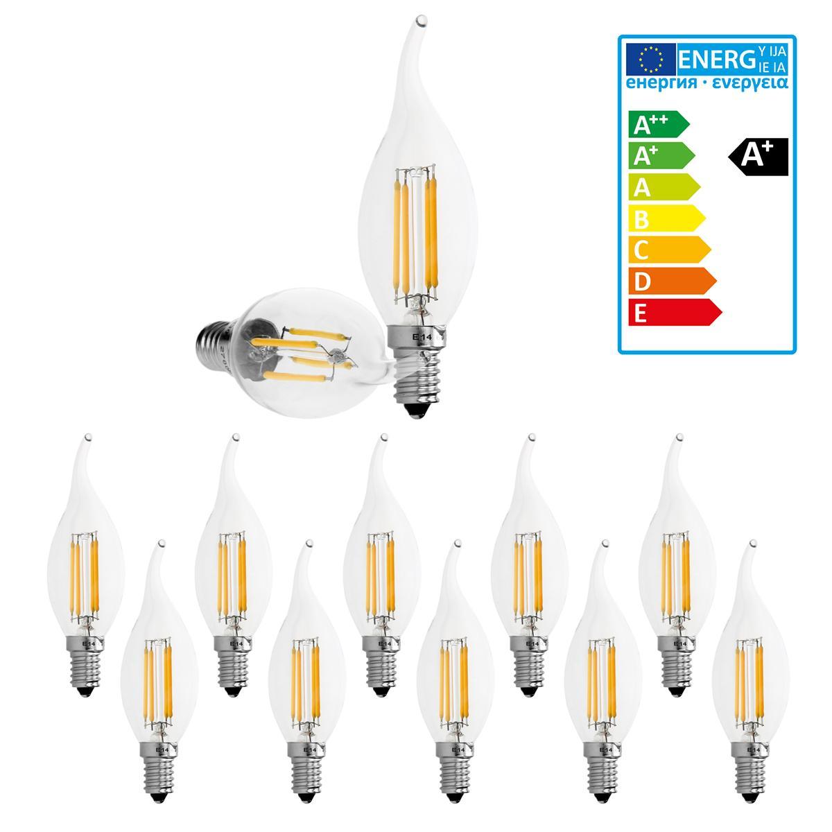 Ecd Germany 10 x Lampe LED rafale de vent filament de bougie E14 4W blanc chaud