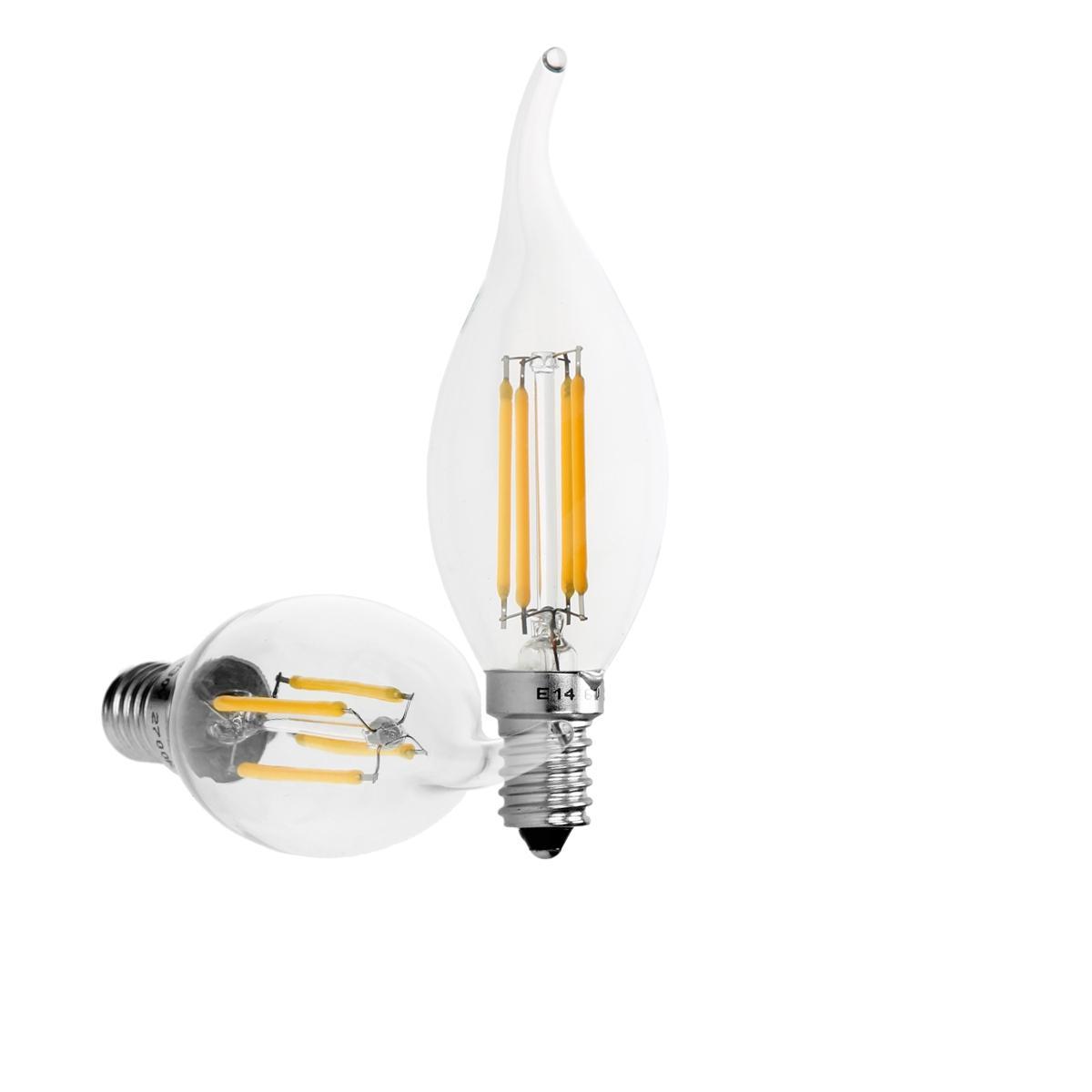 Ecd Germany 12 x Lampe LED rafale de vent filament de bougie E14 4W blanc chaud