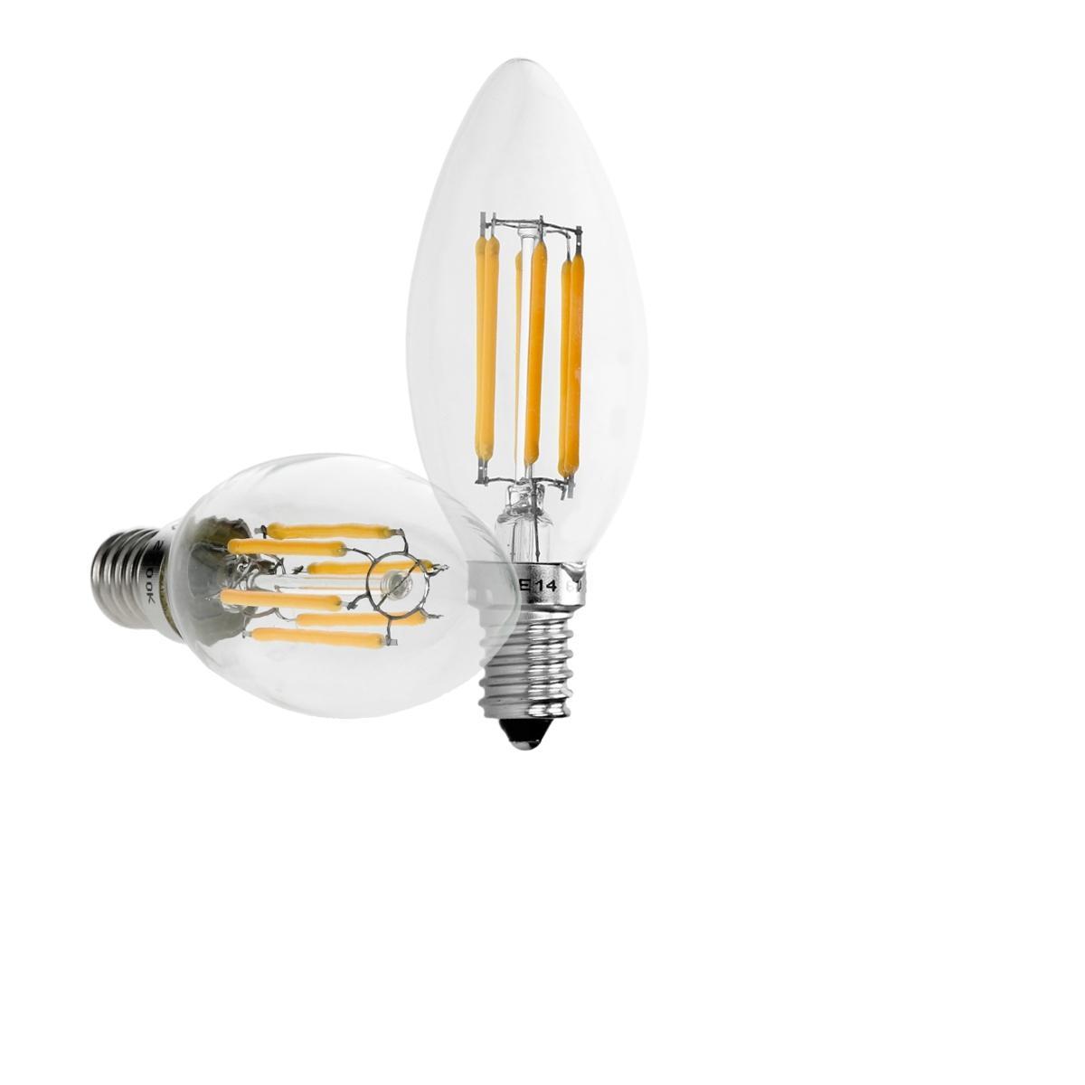 Ecd Germany 4 x lampe LED filament de bougie E14 6W blanc chaud
