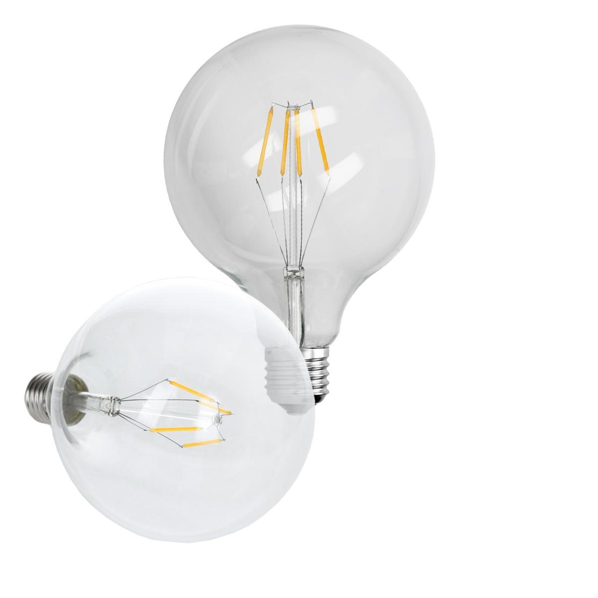Ecd Germany 6 x ampoule LED à gros filament E27 4W 125 mm blanc chaud