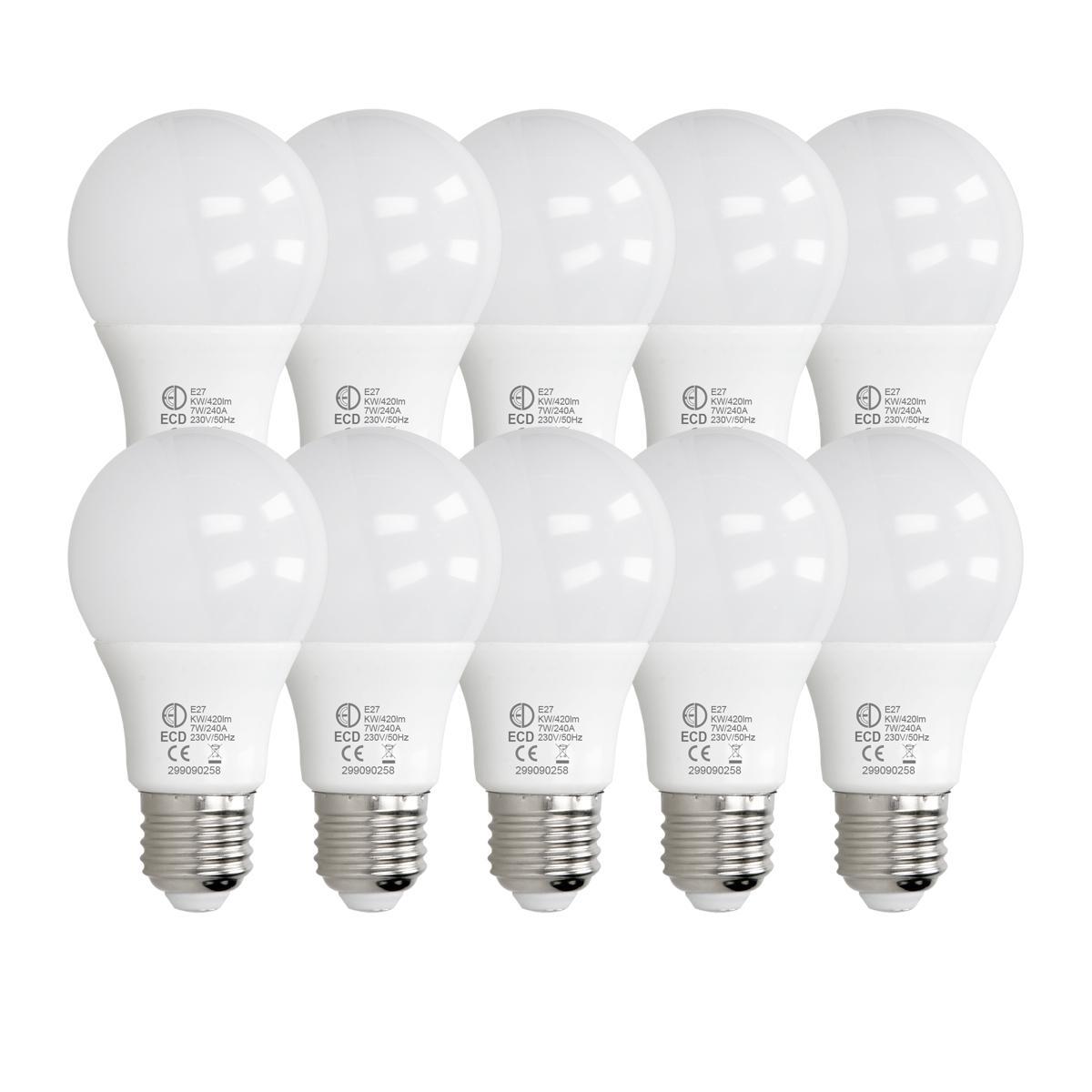 Ecd Germany ECD Germany 10 pièces 7W E27 ampoule LED   3000 Kelvin   Angle de faisceau 270 °   420 lumens   Blanc chaud   220-240 v
