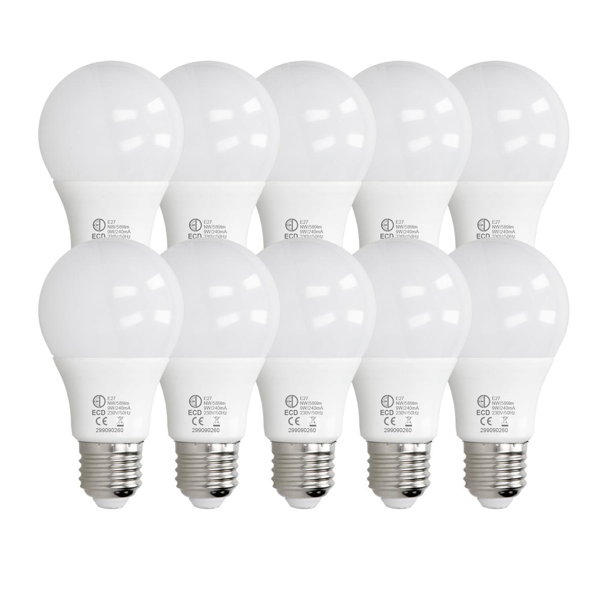 Ecd Germany ECD Germany 10 pièces 9W E27 ampoule LED   4000 Kelvin   Angle de faisceau 270 °   589 lumens   Blanc neutre   220-240 v