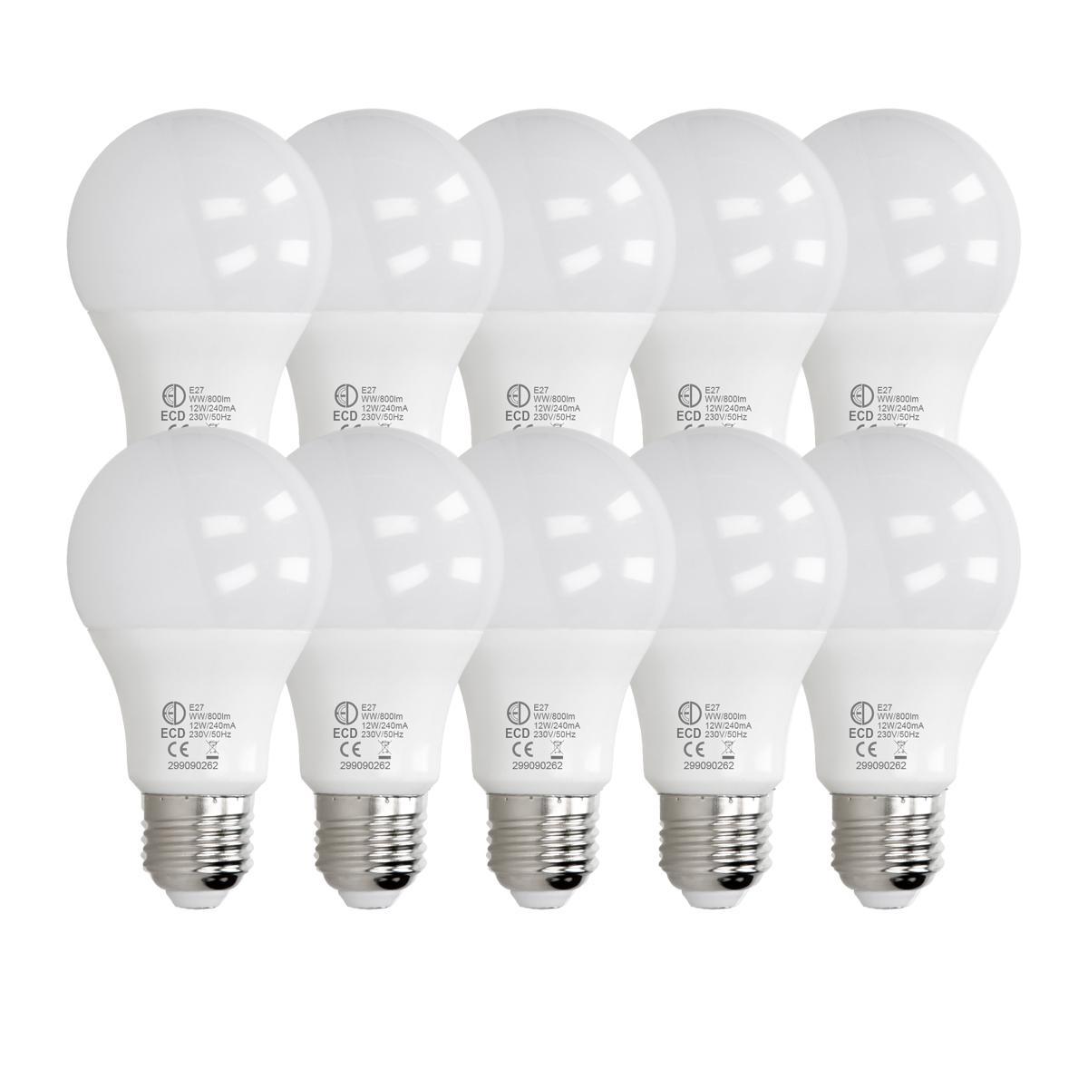Ecd Germany ECD Germany 10 pièces d'ampoule LED E27 de 12W | 3000 Kelvin | Angle de faisceau 270 ° | 800 lumens | Blanc chaud | 220-