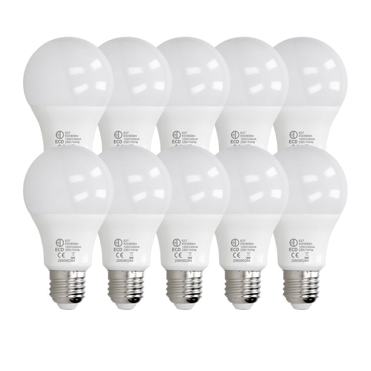 Ecd Germany ECD Germany 10 pièces d'ampoule LED E27 de 12W | 6000 Kelvin | Angle de faisceau 270 ° | 800 lumens | Blanc froid | 220-