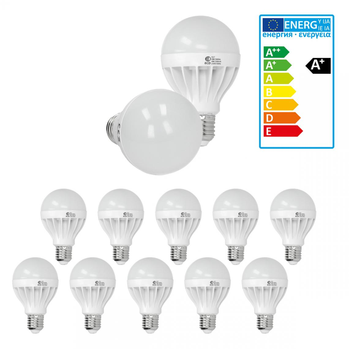 Ecd Germany ECD Germany 10 x 9W E27 LED Lampe   6000 Kelvin blanc froid   584 lumens   220-240 V   remplace une ampoule halogène de