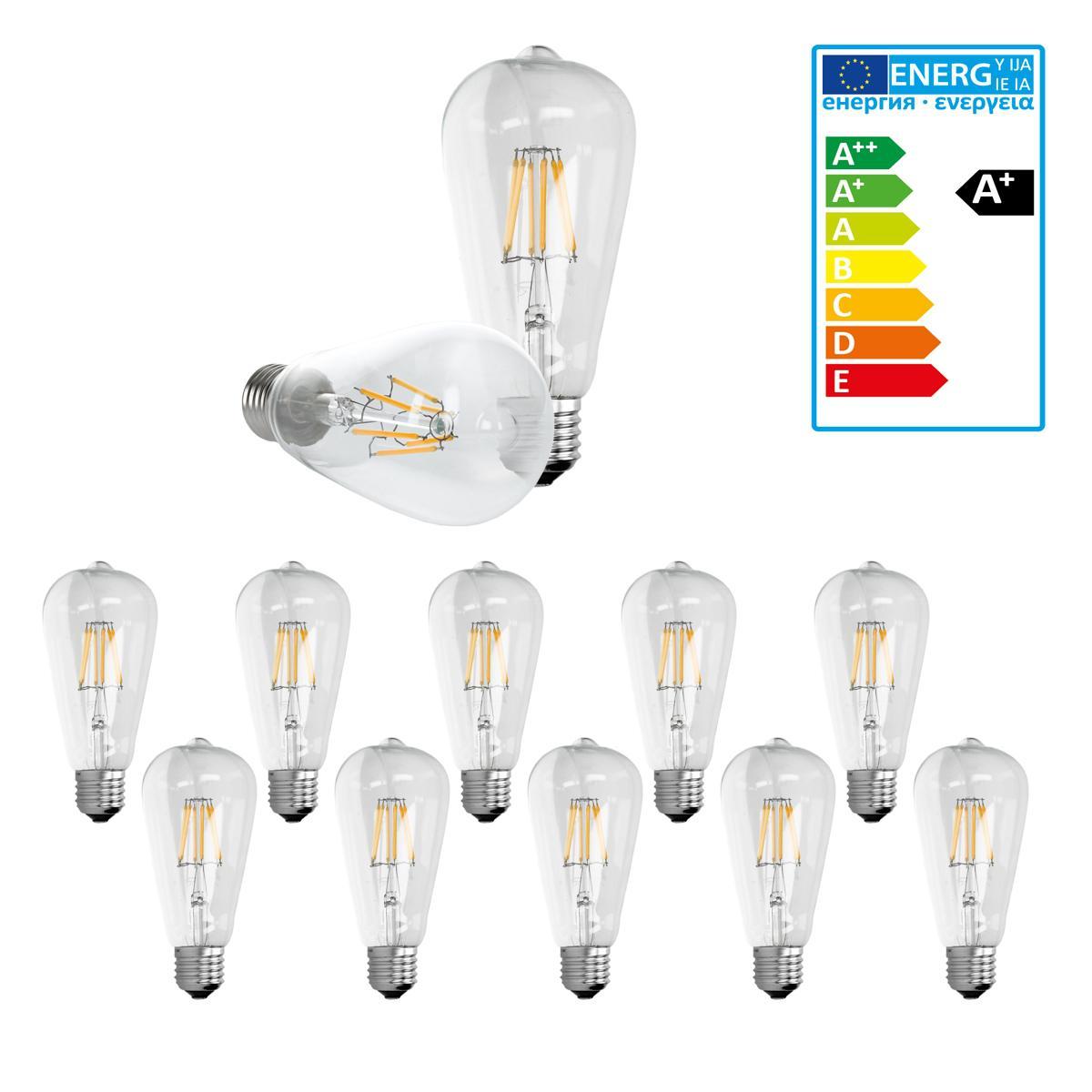 Ecd Germany ECD Germany 10 x LED Filament de l'ampoule E27 Classique Edison 6W 612 lumens Angle de faisceau 120 ° AC 220-240 reste c