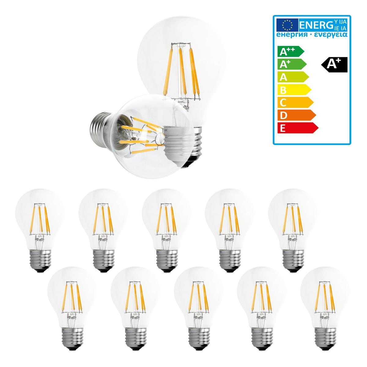 Ecd Germany ECD Germany 10 x LED Filament de l'ampoule E27 Classique Edison 6W 612 lumens angle de faisceau de 120 ° AC 220-240 rest