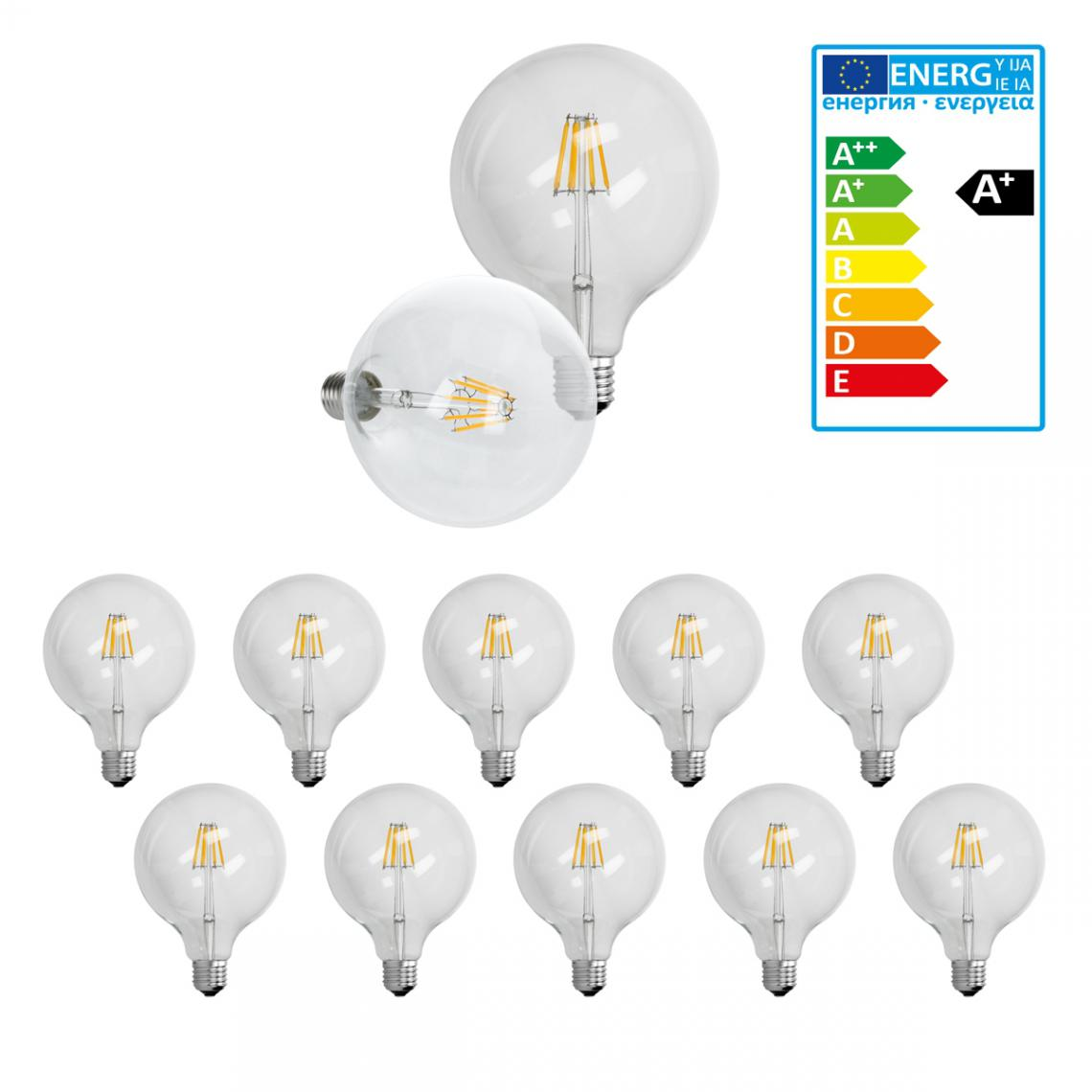 Ecd Germany ECD Germany 10 x LED Filament de l'ampoule E27 Edison 6W 125 mm 624 Lumen 120 ° Angle de courant alternatif 220-240 V re