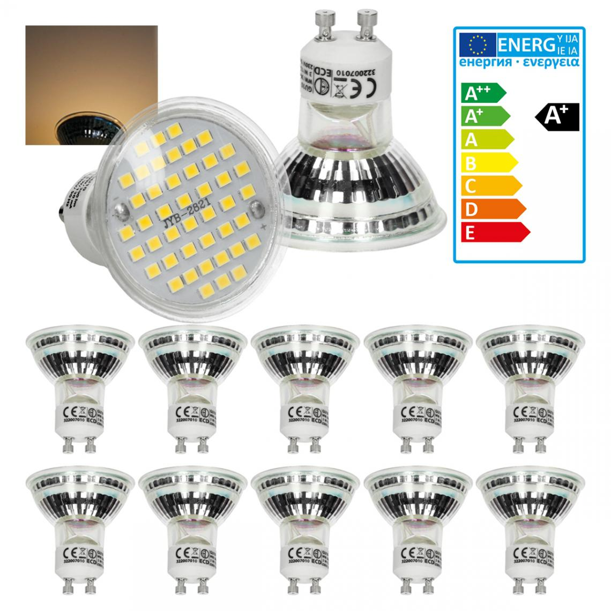 Ecd Germany ECD Germany 10 x LED GU10 44SMD Spot 3W - Lampe à LED 20W - en verre - 251 lumens - Blanc chaud 3000K - Spot à encastrer