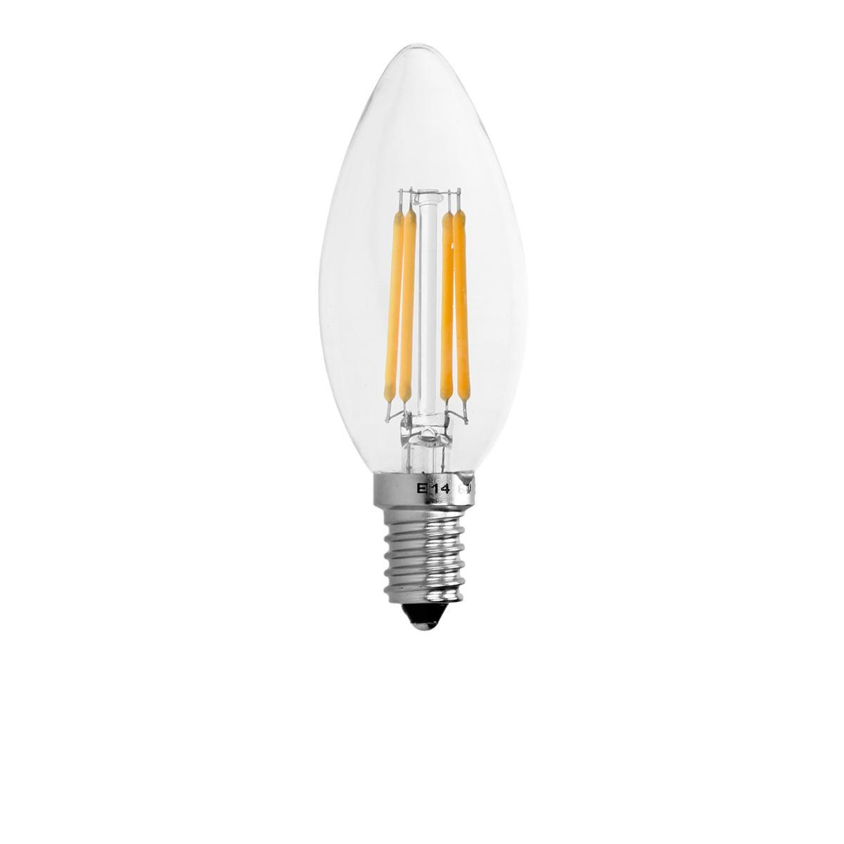 Ecd Germany ECD Germany 4 x LED Filament de la bougie E14 4W 414 Lumens 120 ° Angle de courant alternatif 220-240 V reste caché et r