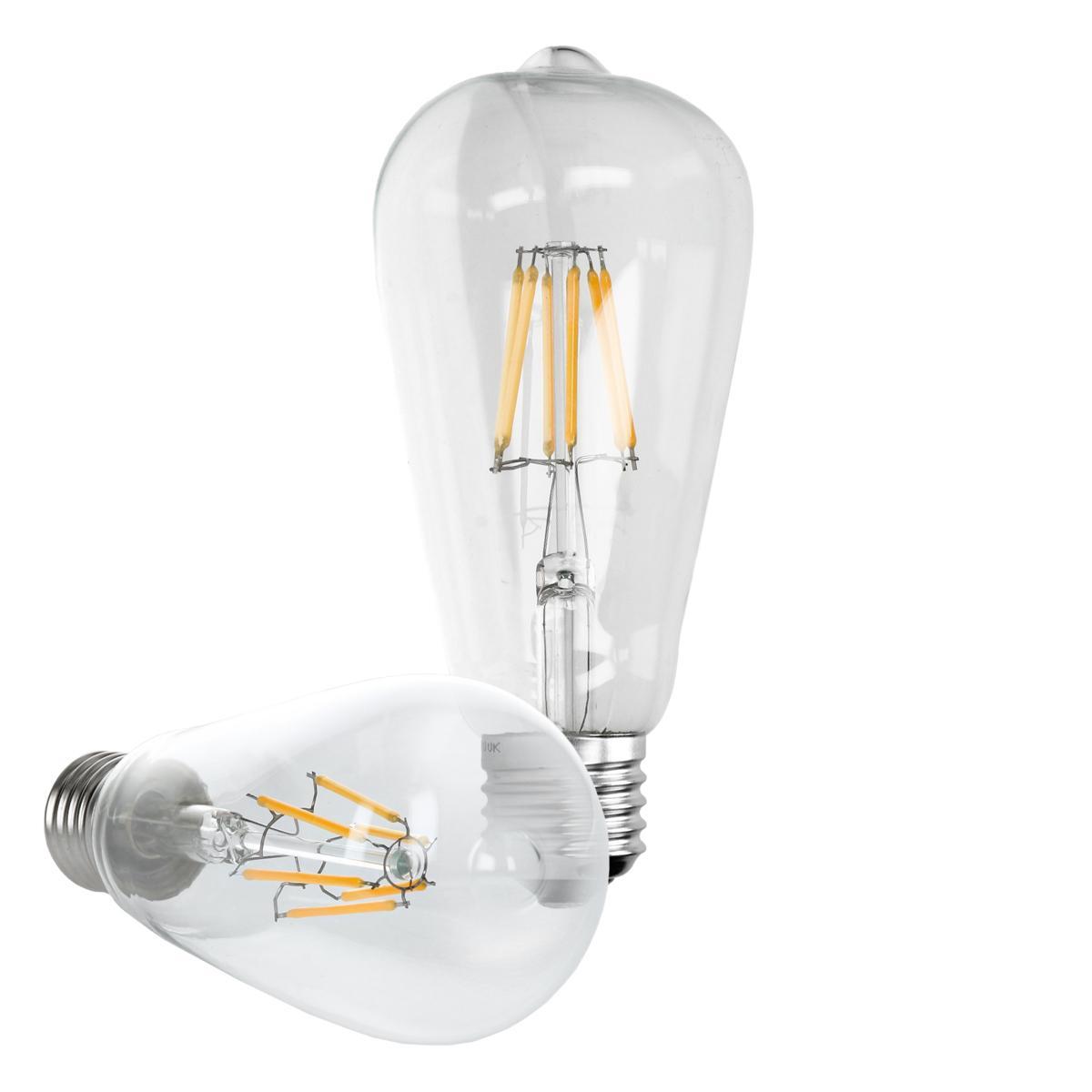 Ecd Germany ECD Germany 4 x LED Filament de l'ampoule E27 classique Edison 6W 612 lumens angle de faisceau 120 ° AC 220-240 reste ca