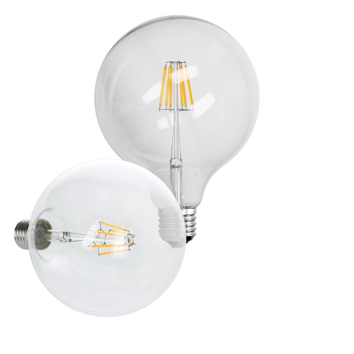 Ecd Germany ECD Germany 4 x LED Filament de l'ampoule E27 Edison 6W 125 mm 624 Lumen 120 ° Angle de courant alternatif 220-240 V res