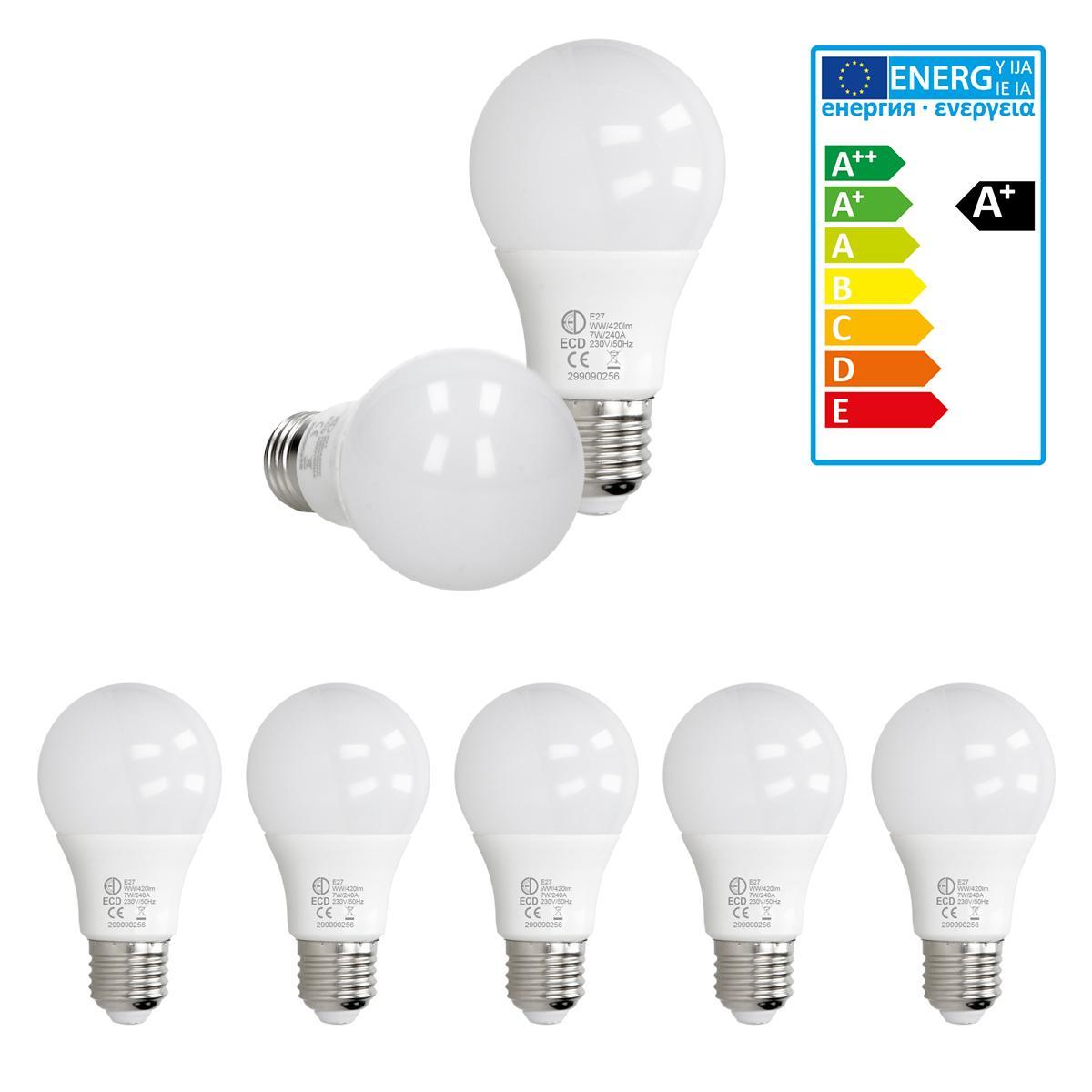 Ecd Germany ECD Germany 5 pièces 7W E27 ampoule LED   3000 Kelvin   Angle de faisceau 270 °   420 lumens   Blanc chaud   220-240 v  