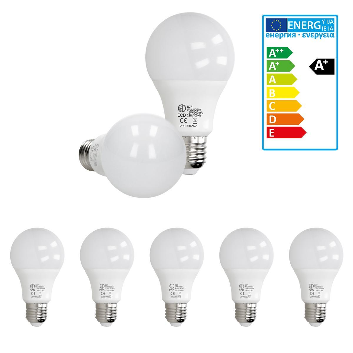 Ecd Germany ECD Germany 5 pièces de 12W E27 LED ampoule | 3000 Kelvin | Angle de faisceau 270 ° | 800 lumens | Blanc chaud | 220-240