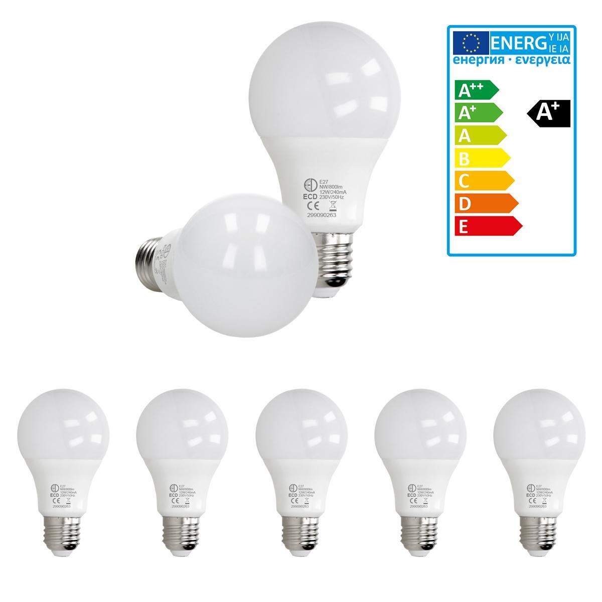 Ecd Germany ECD Germany 5 pièces de 12W E27 LED ampoule | 4000 Kelvin | Angle de faisceau 270 ° | 800 lumens | Blanc neutre | 220-24