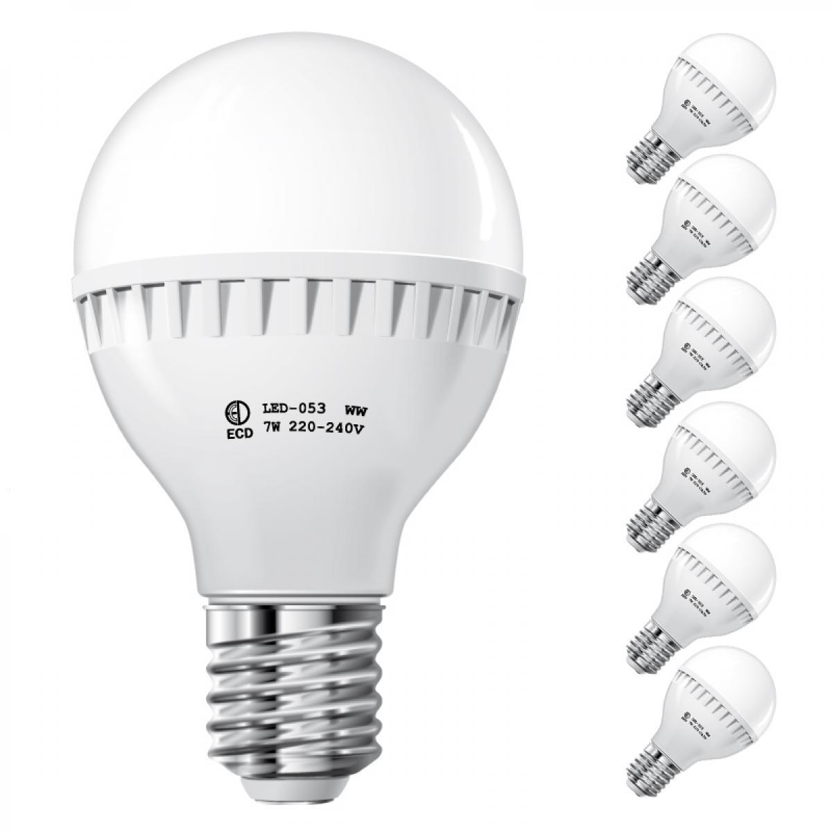 Ecd Germany ECD Germany 6 x 7W E27 LED Lampe | 6000 Kelvin Blanc Froid | 458 Lumens | 220-240 V | Remplace une Ampoule Halogène de 4