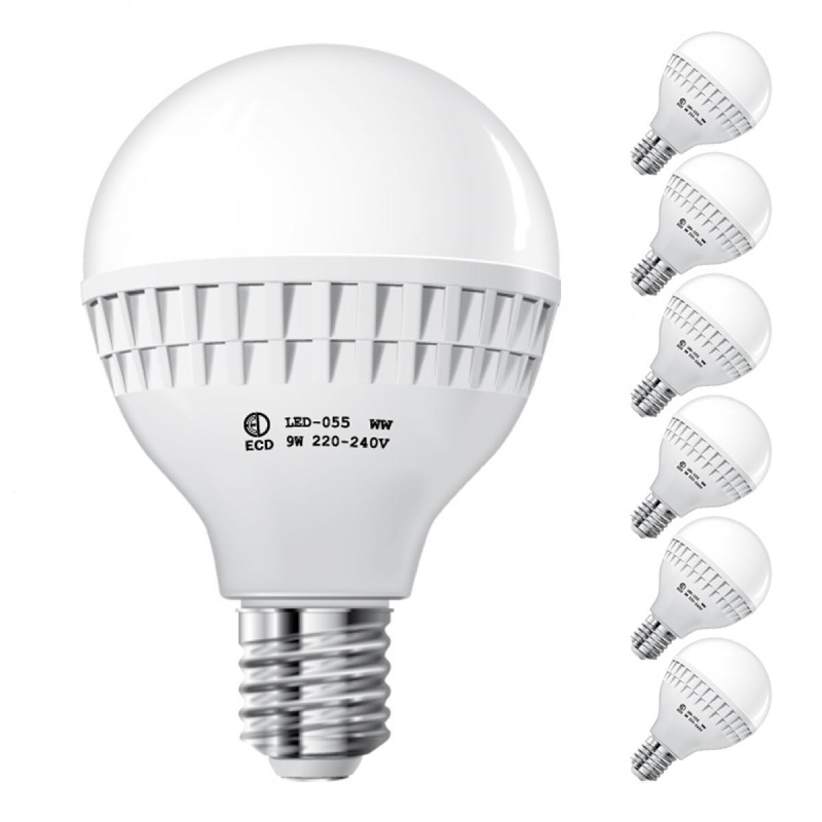 Ecd Germany ECD Germany 6 x 9W E27 LED Lampe   6000 Kelvin blanc froid   584 lumens   220-240 V   remplace une ampoule halogène de 6
