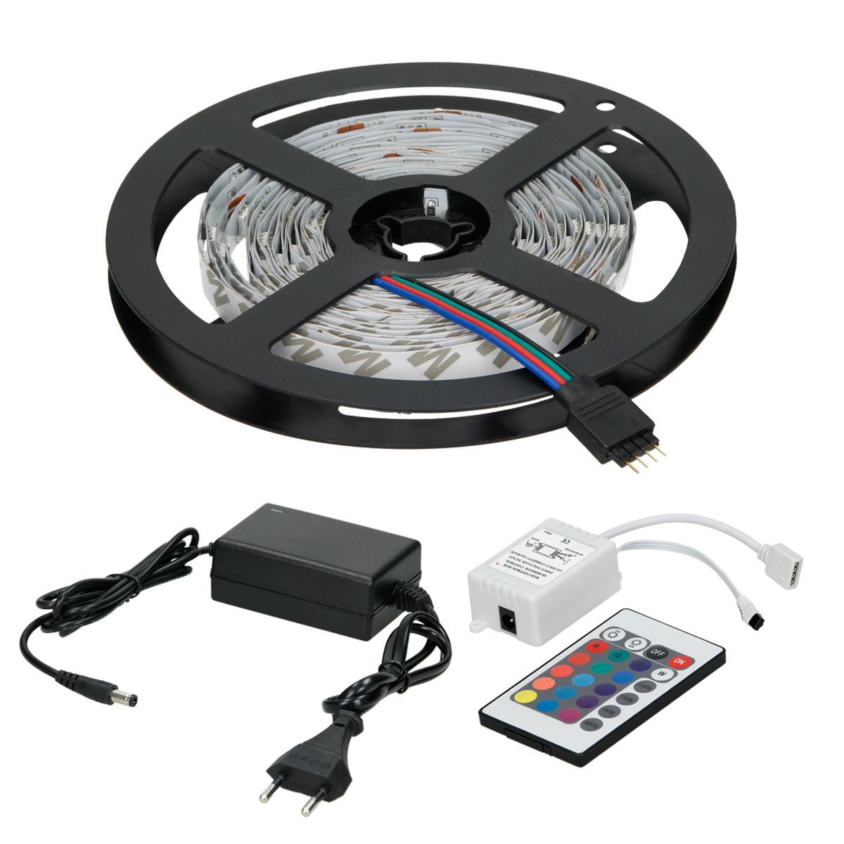 Ecd Germany ECD Germany Set 1x 10m (2x5m) Bande de LED RGB blanc SMD 3528 + 1x Transformateur 2A 60W 12V câble pour prise EU + 1x T