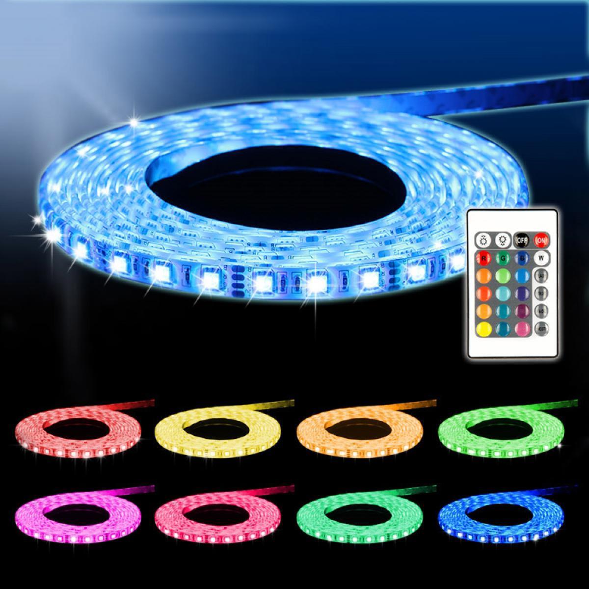 Ecd Germany ECD Germany Set 1x 5m (1x5m) Bande de LED RGB blanc SMD 3528 + 1x Transformateur 2A 60W 12V câble pour prise EU + 1x Té