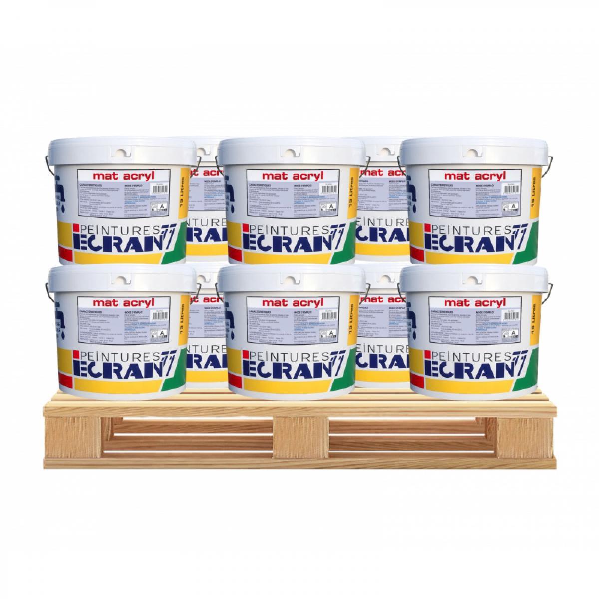 Ecran77 Peinture professionnelle acrylique, mat, intérieur et extérieur, pour murs, plafonds, MAT ACRYL-10 x 15L