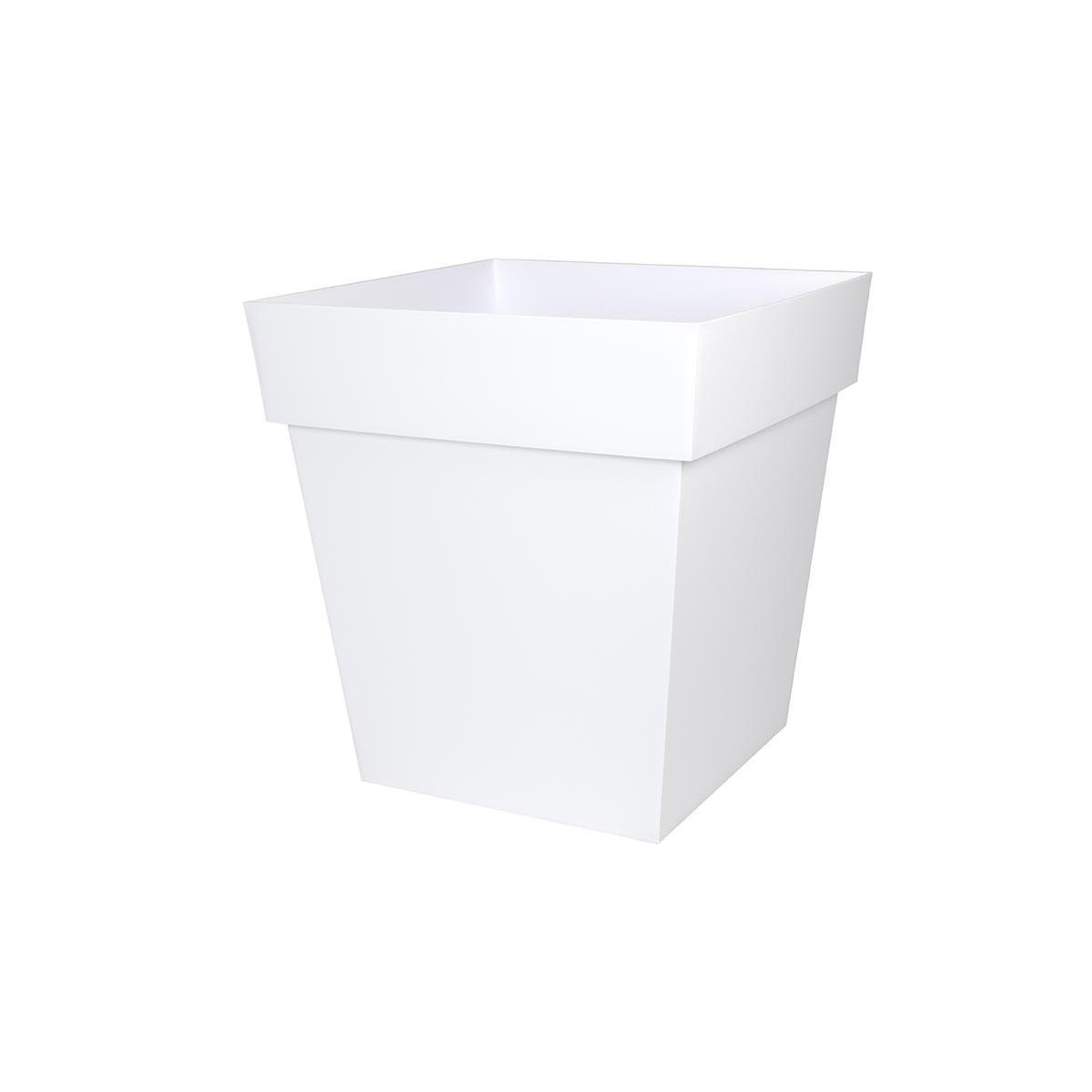 Eda Pot de fleur carré Toscane 49,5 x H.52,5 cm - Blanc
