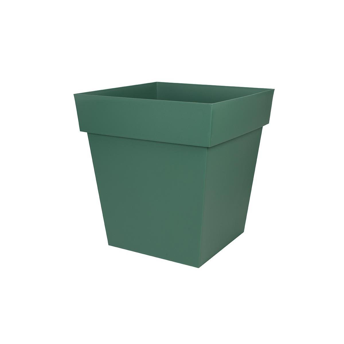 Eda Pot de fleur carré Toscane 49,5 x H.52,5 cm - Vert jungle