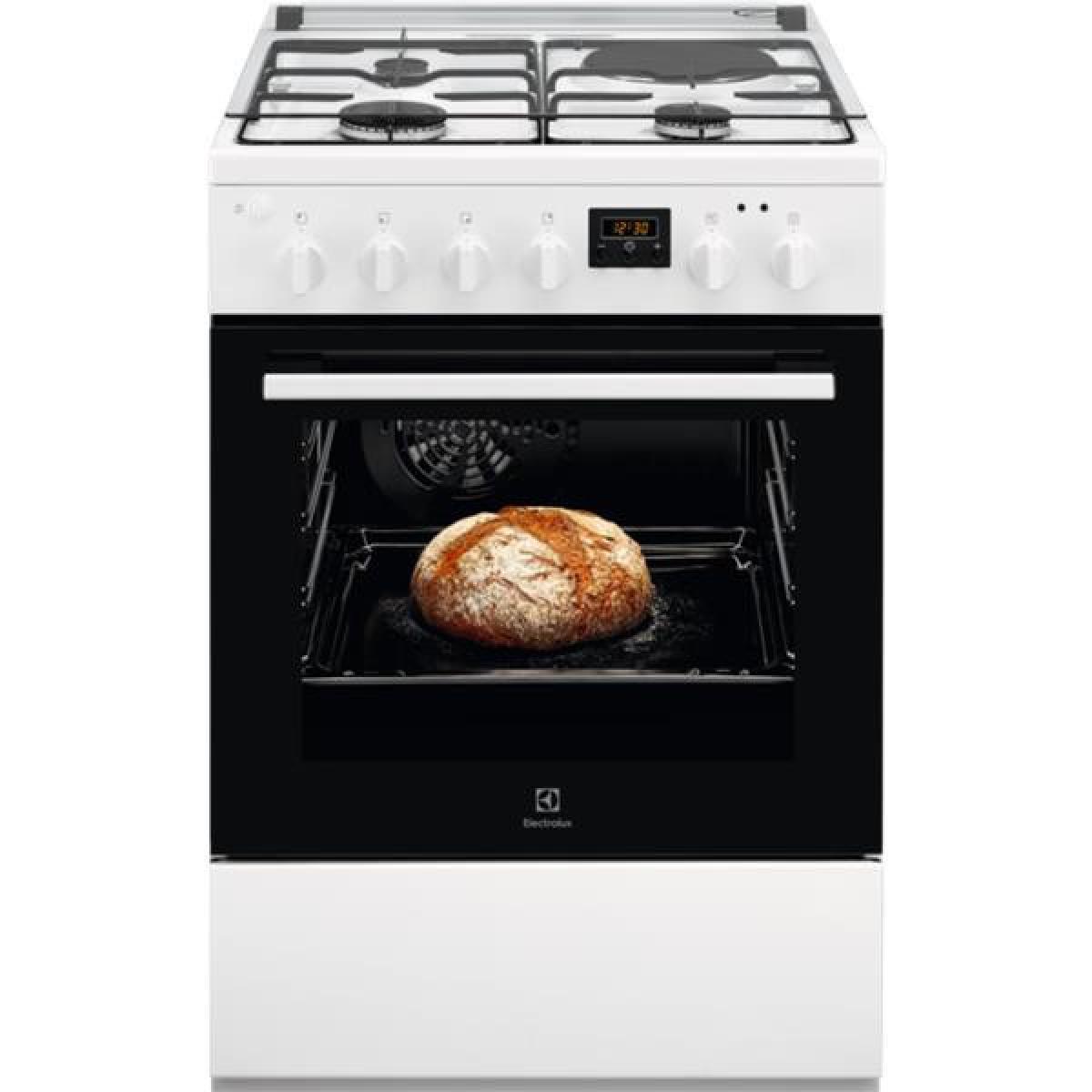 Electrolux Cuisinière 60x60 - TABLE: Mixte gaz / électrique - 3 foyers gaz + 1 foy ELECTROLUX - LKM624011W