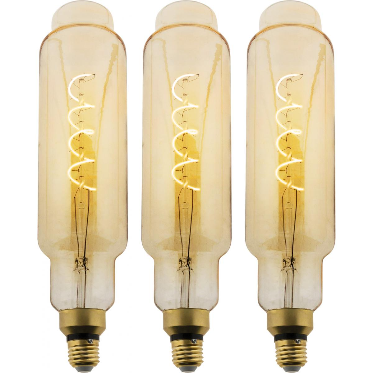 Elexity Lot de 3 ampoules LED Filament Géante Ovale - 5W E27 350lm 2500K (Blanc chaud)