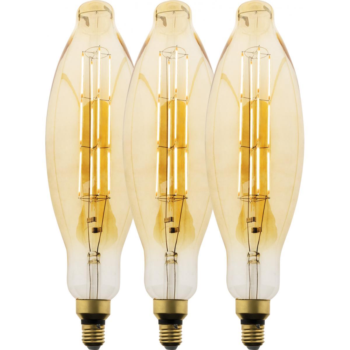 Elexity Lot de 3 ampoules LED Filament Géante Tube - 5W E27 350lm 2500K (Blanc chaud)