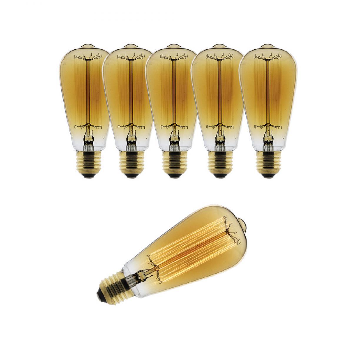 Elexity Lot de 6 ampoules Déco filament carbone Edison 25W E27 2700K (blanc chaud)