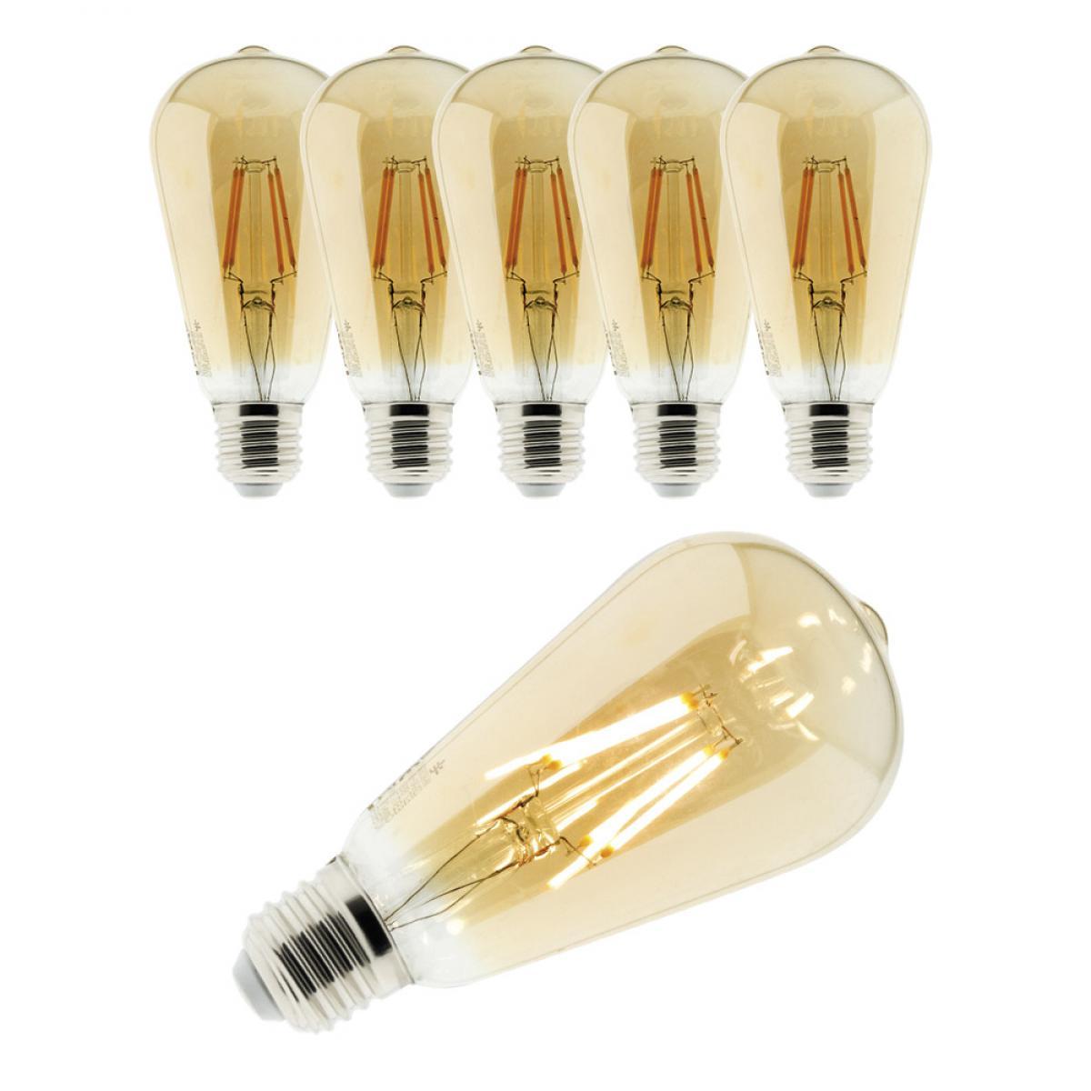 Elexity Lot de 6 ampoules Déco filament LED ambrée 4W E27 400lm 2500K - Edison