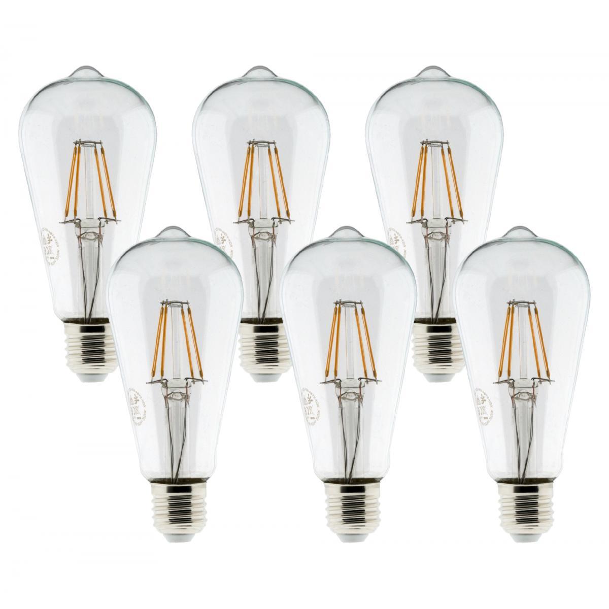 Elexity Pack de 6 ampoules LED Déco filament 4W E27 Edison