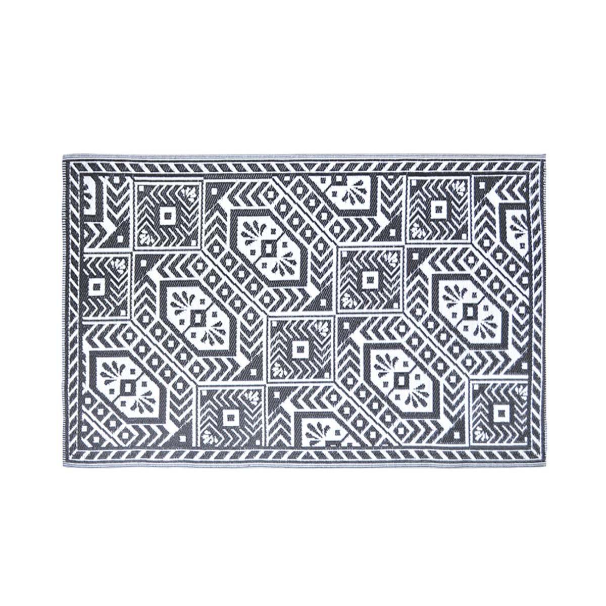 Esschert Design Tapis d'extérieur rectangulaire réversible diamant noir/blanc - 182 x 122 cm