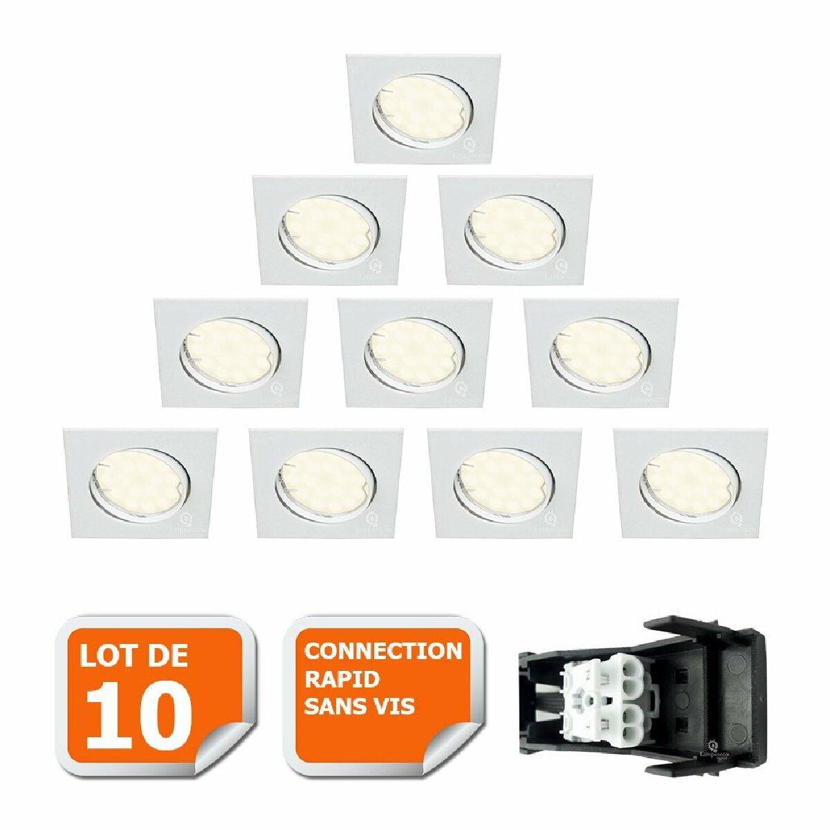 Eurobryte LOT DE 10 SPOT ENCASTRABLE ORIENTABLE CARRE LED SMD GU10 230V BLANC RENDU ENVIRON 50W HALOGENE