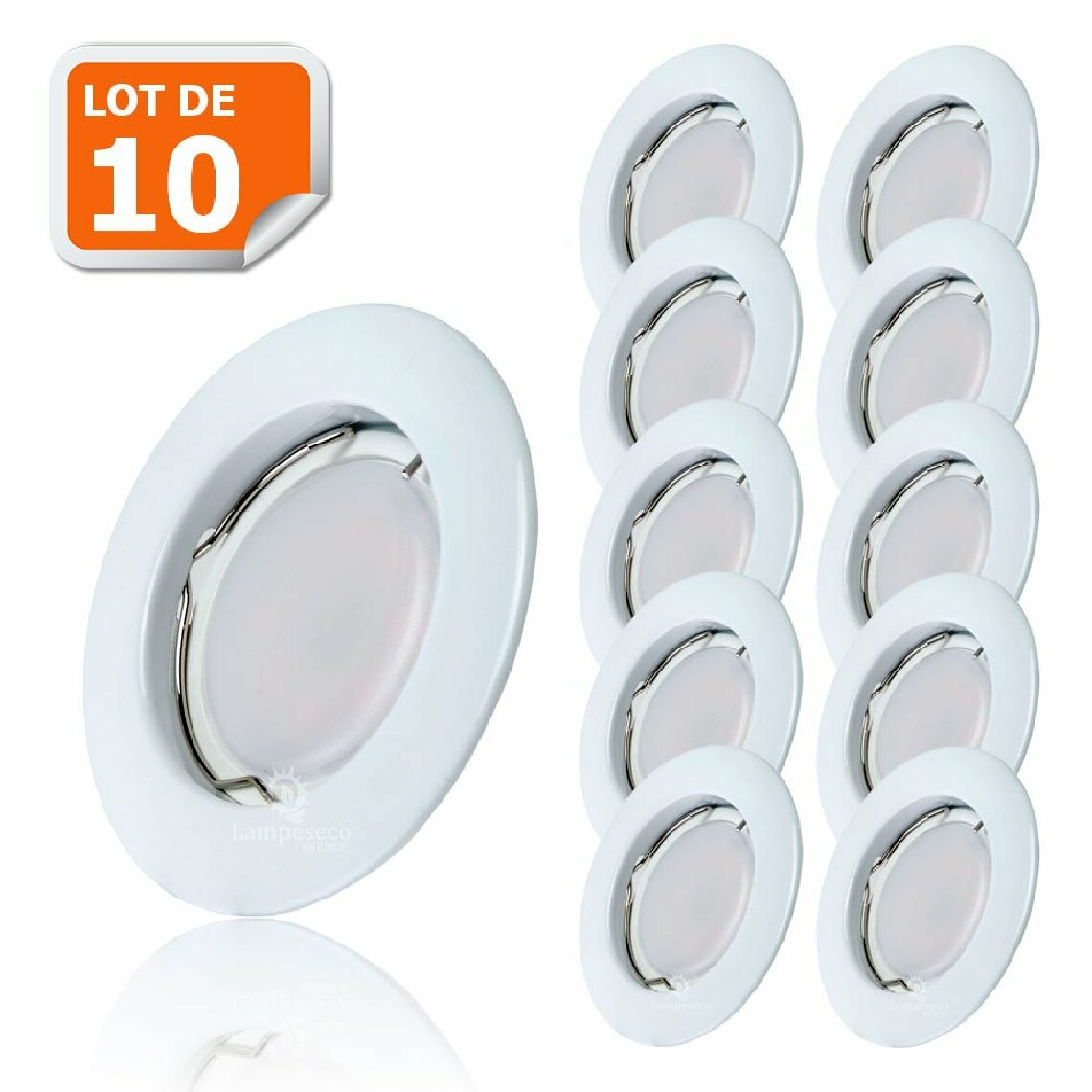 Eurobryte Lot de 10 Spot Led Encastrable Complete Blanc Lumière Blanc Chaud 5W eq.50W ref.267
