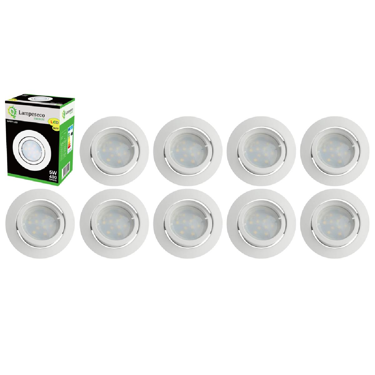 Eurobryte Lot de 10 Spot Led Encastrable Complete Blanc Orientable lumière Blanc Chaud eq. 50W ref.193