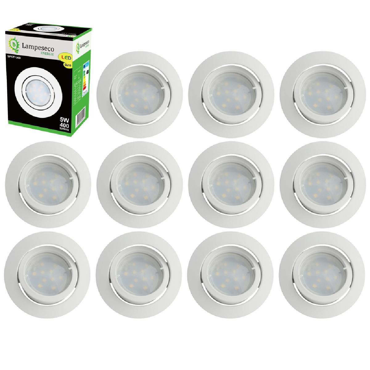 Eurobryte Lot de 12 Spot Led Encastrable Complete Blanc Orientable lumière Blanc Chaud eq. 50W ref.193