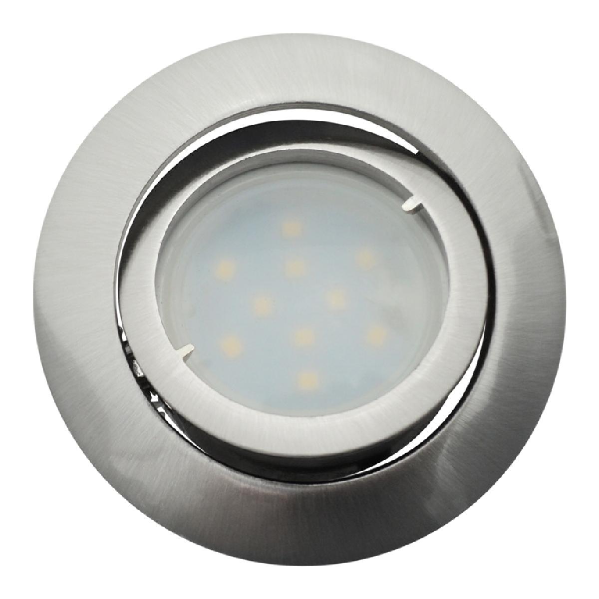 Eurobryte Lot de 12 Spot Led Encastrable Complete Satin Orientable lumière Blanc Chaud eq. 50W ref.209