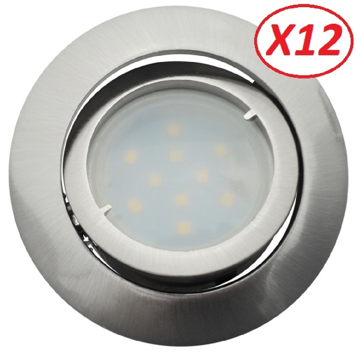 Eurobryte Lot de 12 Spot Led Encastrable Complete Satin Orientable lumière Blanc Neutre eq. 50W ref.895